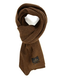 Scotch And Soda Mustard Cashmere Wool Ribbed Scarf
