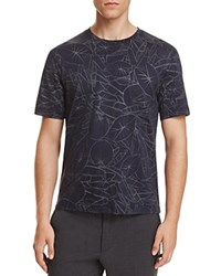 Z Zegna All Over Leaf Print Tee Navy