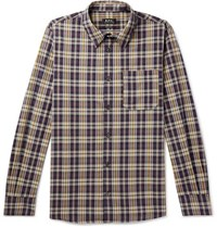 A.P.C. Atelier Checked Cotton Poplin Shirt Navy