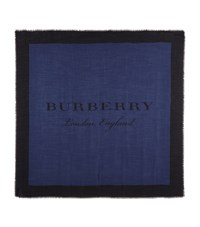 Burberry Shoes And Accessories Lightweight Logo Print Scarf Female Blue