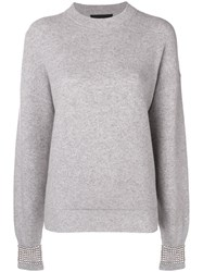 Alexander Wang Crystal Embellished Sweater Grey