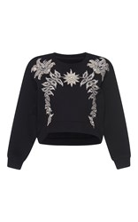 Francesco Scognamiglio Jeweled Crew Neck Top Black