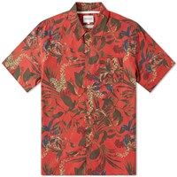 Norse Projects Short Sleeve Carsten Floral Print Vacation Shirt Red