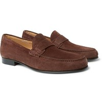Canali Suede Penny Loafers Brown