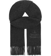 Vivienne Westwood Embroidered Wool Scarf Anthracite