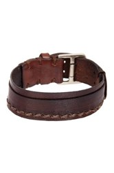 John Varvatos 20Mm Scored Strap Cuff Bracelet Brown