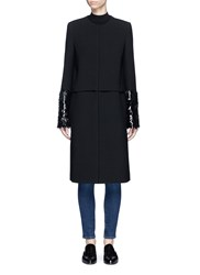 Victoria Beckham Mixed Sequin Cuff Wool Gabardine Coat Black