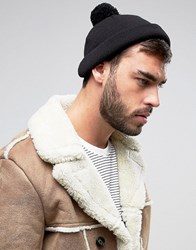 Asos Mini Fisherman Beanie With Pom Black