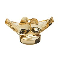 Lalique Two Lovebirds Figure Gold Lustre