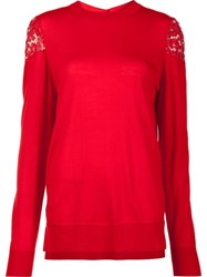 Adam By Adam Lippes Lace Shoulder Jumper Red