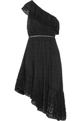 Loveshackfancy Pamela One Shoulder Crochet Trimmed Cotton Midi Dress Black