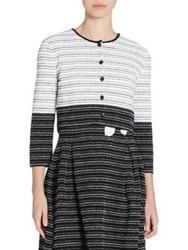 Carolina Herrera Striped Wool And Silk Cardigan Black White