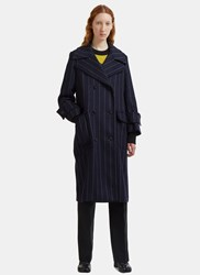 Msgm Oversized Double Breasted Pinstripe Coat Navy