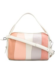 Derek Lam 10 Crosby Striped Gym Bag White