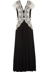 Catherine Deane Goldie Lace Paneled Jersey Gown Black