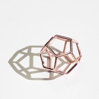 Alminty3d Dodecahedron Necklace 14 Karat Rose Gold Plated