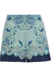 Etro Crochet Trimmed Printed Washed Silk Shorts Grey Green