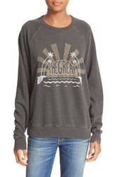 The Great Women's Great. Graphic French Terry Sweatshirt Washed Black Caper Print
