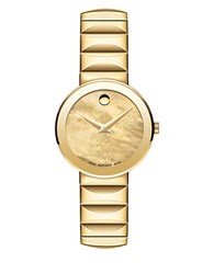 Movado Sapphire Yellow Goldplated Stainless Steel Faceted Link Bracelet Watch