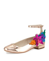 Sophia Webster Analia Floral Applique Ankle Strap Flat Rose Gold Rosegold