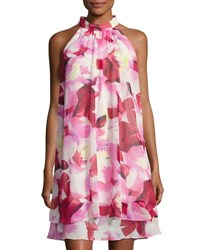 Eliza J Floral Print Halter Neck Dress Pink Pattern