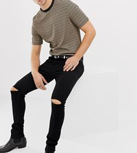 Heart And Dagger Super Skinny Jeans With Knee Rips Black