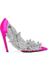 Balenciaga Sequin Embellished Satin Pumps Fuchsia