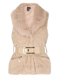 Izabel London Faux Fur Belted Gilet Beige