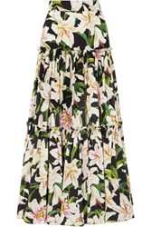 Dolce And Gabbana Tiered Floral Print Cotton Poplin Maxi Skirt Black