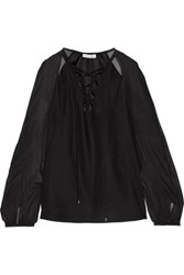 Altuzarra The Benny Lace Up Silk Chiffon And Silk Satin Blouse Black