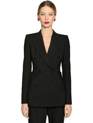 Dolce And Gabbana Lace Up Stretch Cool Wool Blazer Black