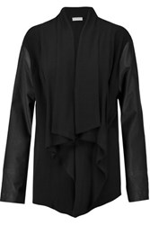 Dkny Leather Paneled Ponte Jacket Black