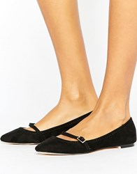 Oasis Pointed Buckle T Bar Shoes Black