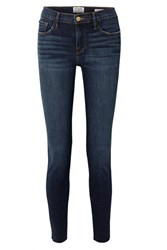 Frame Le Skinny De Jeanne Raw Edge Distressed Mid Rise Jeans Dark Denim