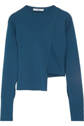 Tibi Asymmetric Ribbed Knit Sweater Petrol