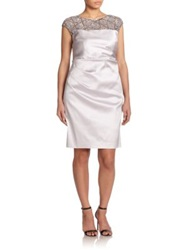 Kay Unger Plus Size Satin Embroidered Detail Dress Oyster