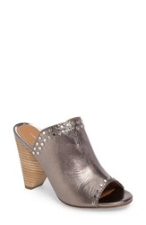 Linea Paolo Women's Penny Studded Cone Heel Sandal Pewter Metallic Leather