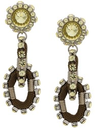 Dsquared2 Crystal Embellished Earrings Green