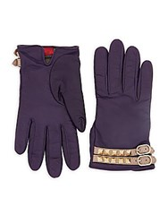 Valentino Studded Buckled Leather Gloves Purple