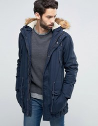 Solid Parka With Faux Fur Hood Navy