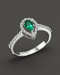 Bloomingdale's Emerald And Diamond Pear Shape Ring In 14K White Gold Green White