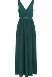 Saloni Renee Leather Trimmed Georgette Maxi Dress Blue