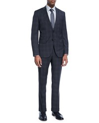 Boss Plaid Natural Stretch Wool Two Piece Suit Charcoal