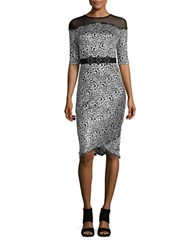 Jax Illusion Neck Sequined Dress Black Silver