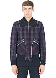 Lanvin Tartan Wool And Leather Shearling Jacket Black
