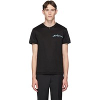 Alexander Mcqueen Black Embroidered Logo T Shirt