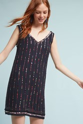 Anthropologie Lilith Beaded Shift Dress Navy