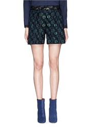 Dries Van Noten 'Pico' Iridescent Floral Emerald Jacquard Shorts Black Metallic