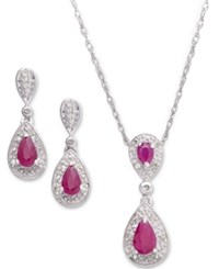 Macy's Sterling Silver Pendant And Earrings Gemstone 1 3 8 Ct. T.W. And Diamond 1 10 Ct. T.W. Set