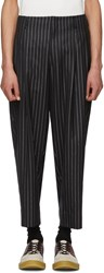 Comme Des Garcons Homme Plus Black And Silver Lame Pinstripe Trousers